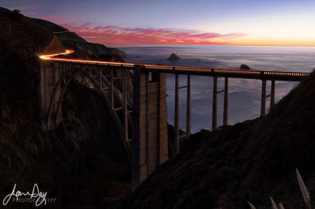 The famous Bixby Bridge in Big Sur plays host to this stretch of Hwy. 1 on the Central Coast of California.  If you've never been, it's worth your while to take a nice, long, leisurely drive from San Francisco down to Santa Barbara.  You'll see some of the prettiest and dramatic coastline with small, rural towns along the way.  Go in the winter and spring months when everything is green, wildflowers are blooming and you are less likely to encounter fog.